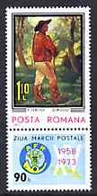 Rumania 1973 Stamp Day - Postilion by Verona plus label  unmounted mint, SG 4024