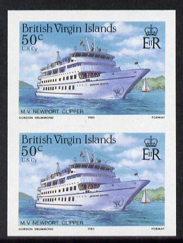 British Virgin Islands 1986 Visiting Cruise Ships 50c (MV Newport Clipper) imperf pair unmounted mint (SG 593var)