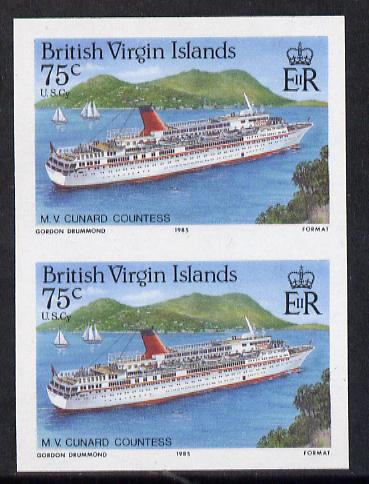 British Virgin Islands 1986 Visiting Cruise Ships 75c (MV Cunard Countess) imperf pair unmounted mint (SG 594var)