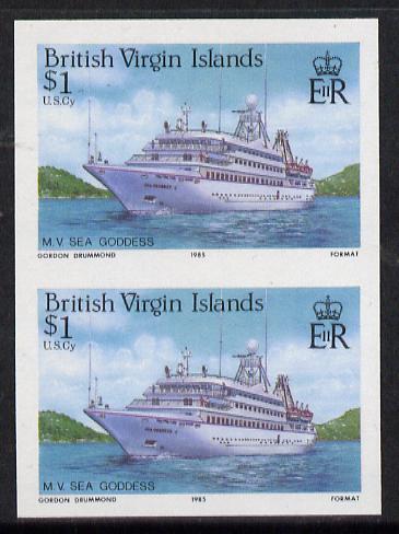 British Virgin Islands 1986 Visiting Cruise Ships $1 (MV Sea Goddess) imperf pair unmounted mint (SG 595var)