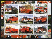Congo 2004 Fire Engines #1 perf sheetlet containing 9 x 120CF values, unmounted mint