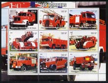 Congo 2004 Fire Engines #2 perf sheetlet containing 9 x 125CF values, unmounted mint
