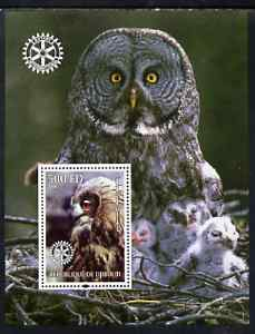 Djibouti 2004 Owls #1 perf souvenir sheet (with Rotary Logo) unmounted mint
