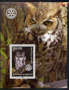 Djibouti 2004 Owls #2 perf souvenir sheet (with Rotary Logo) unmounted mint