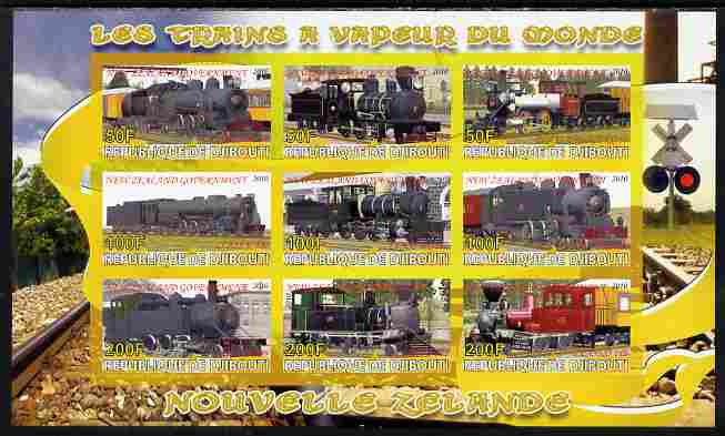 Djibouti 2010 Steam Locos of the World - New Zealand imperf sheetlet containing 9 values unmounted mint