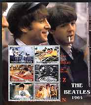 Congo 2004 The Beatles (1964) large perf sheet containing 6 values, unmounted mint