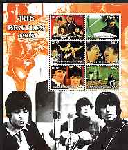 Congo 2004 The Beatles (1965) large perf sheet containing 6 values, unmounted mint, stamps on entertainments, stamps on music, stamps on pops, stamps on personalities, stamps on beatles