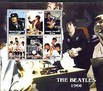 Congo 2004 The Beatles (1966) large perf sheet containing 6 values, unmounted mint