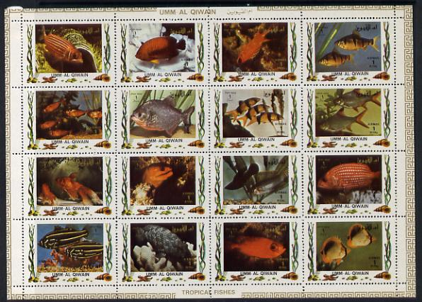 Umm Al Qiwain 1972 Fish #2 sheetlet containing 16 values (Mi 1466-81A) unmounted mint