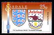 Easdale 1996 Great Sporting Events - Football 25p - Arsenal Club Badge Winners of 1992-93 FA Cup Final, unmounted mint
