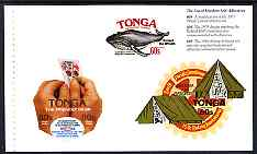 Booklet - Tonga 1994 25th Anniversary of Self-Adhesive stamps booklet pane of 3 stamps showing Peeling s/a stamp, Protect the Whales, Scouts & Rotary, unmounted mint, SG ...