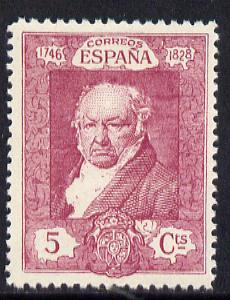 Spain 1930 Francisco Goya 5c bright mauve unmounted mint SG 556