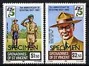 St Vincent - Grenadines 1982 75th Anniversary of Boy Scouts perf set of 2 overprinted SPECIMEN, unmounted mint SG 232-33s