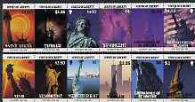 British Virgin Islands, Montserrat, Nevis, St Lucia, St Vincent Grenadines & Tuvalu 1986 Statue of Liberty Centenary unique strip of 12 comprising 1 or 2 from each territ...