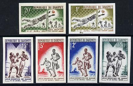 Dahomey 1963 Dakar Games set of 6 IMPERF from limited printing, unmounted mint (as SG 185-90)