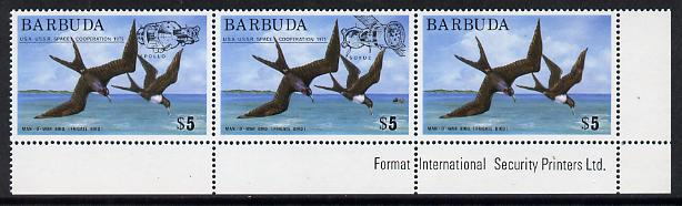 Barbuda 1975 Frigate Bird $5 unmounted mint se-tenant strip of 3 with 'Apollo-Soyuz' opt, SG 227a