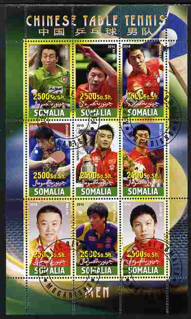 Somalia 2010 Chinese Table Tennis Stars - Male perf sheetlet containing 9 values fine cto used