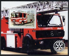 Djibouti 2004 Fire Engines perf souvenir sheet #2 with Rotary logo unmounted mint