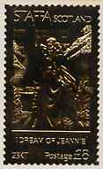 Staffa 1978 Songs by Stephen Foster (I Dream of Jeannie) \A38 perf label (showing Girl in Gown) embossed in 23 carat gold foil (Rosen #547) unmounted mint