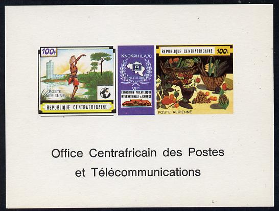 Central African Republic 1970 'Knokphila 70' Stamp Exhibition 100f triptych deluxe proof card in full issued colours (as SG 223-4)