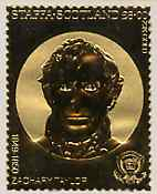 Staffa 1982 US Presidents \A38 Zachary Taylor embossed in 22k gold foil from a limited printing unmounted mint