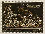 Staffa 1977 Easter \A38 (Rabbits) embossed in 23k gold foil (Rosen #444) unmounted mint