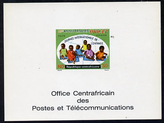 Central African Republic 1971 UNICEF 140f+50f deluxe proof card in full issued colours (as SG 268)