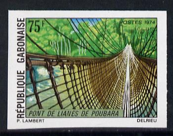 Gabon 1974 Rope Bridge 75f unmounted mint IMPERF from limited printing (as SG 523)