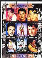 Chad 2000 Millennium - Elvis Presley perf sheetlet containing 9 values, cto used