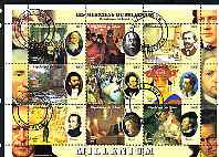 Chad 2000 Millennium - Composers perf sheetlet containing 9 values, cto used
