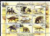 Guinea - Conakry 1998 Dinosaurs #1 perf sheetlet containing 9 values cto used