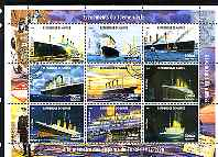 Guinea - Conakry 1998 Events of the 20th Century - Titanic disaster perf sheetlet containing 9 values cto used