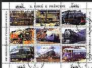 St Thomas & Prince Islands 1997 Railway Locomotives perf sheetlet containing 9 values cto used