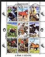 St Thomas & Prince Islands 1995 Horses perf sheetlet containing 9 values cto used