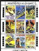 St Thomas & Prince Islands 1995 Movie Posters perf sheetlet containing 9 values cto used, stamps on , stamps on  stamps on films, stamps on  stamps on movies, stamps on  stamps on wild west, stamps on  stamps on americana, stamps on  stamps on