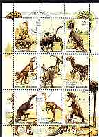 Madagascar 1999 Dinosaurs #1 perf sheetlet containing complete set of 9 values cto used