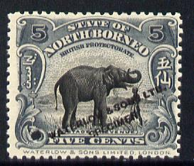 North Borneo 1909 Elephant 5c Printers sample in grey black opt'd 'Waterlow & Sons Specimen' with small security punch hole (as SG 165) without gum as issued