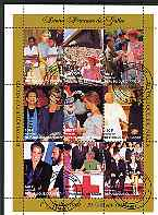 Niger Republic 1997 Princess Diana #2 perf sheetlet containing 9 values (with various people incl C Richard, Pope & Paverotti) cto used