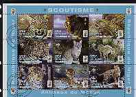 Niger Republic 1998 Animals of the World - Big Cats perf sheetlet containing 9 values (each with Scouts Logo) cto used