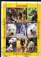 Niger Republic 1998 Animals of the World - Dogs perf sheetlet containing 9 values (each with Scouts Logo) cto used