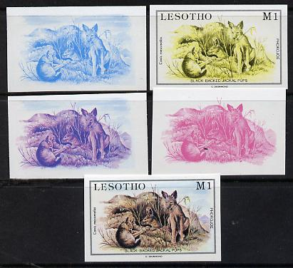 Lesotho 1984 Jackal Pups 1m from Baby Animals issue, the set of 5 imperf progressive comprising 2 individual colours, two 2-colour composites plus all four colours, as SG 615 unmounted mint*