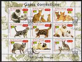 St Thomas & Prince Islands 2004 Domestic Cats perf sheetlet containing 9 values cto used