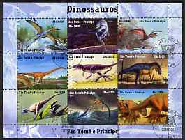 St Thomas & Prince Islands 2004 Dinosaurs perf sheetlet containing 9 values cto used, stamps on dinosaurs