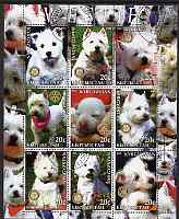 Kyrgyzstan 2004 Dogs - Westies perf sheetlet containing 9 values each with Rotary Logo, cto used