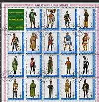 Ajman 1972 Military Uniforms #1 complete perf set of 19 values cto used, Mi 1774-92A