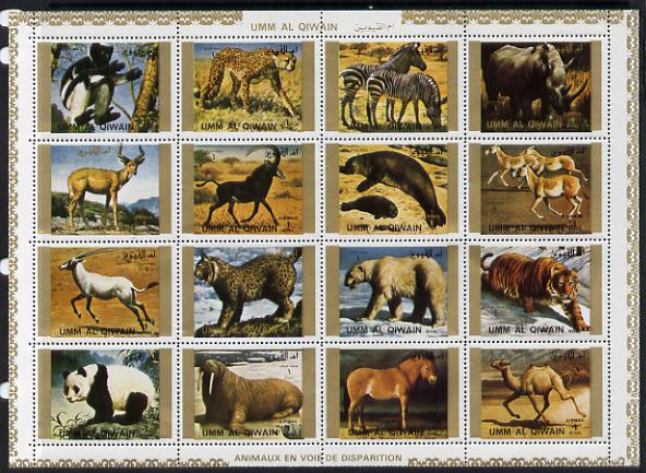 Umm Al Qiwain 1972 Animals #4 sheetlet containing 16 values unmounted mint (Mi 1370-85A)