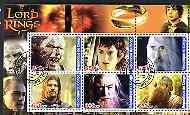 Congo 2003 Lord of the Rings perf sheetlet containing set of 6 values cto used
