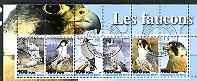 Benin 2003 Falcons perf sheetlet containing 6 values cto used, stamps on birds, stamps on birds of prey, stamps on falcons