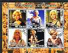 Congo 2001 Marilyn Monroe #3 perf sheetlet containing 6 values cto used, stamps on personalities, stamps on movies, stamps on films, stamps on cinema, stamps on marilyn, stamps on monroe