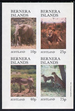 Bernera 1981 Animals (Elephant, Lion. Zebra) imperf set of 4 values (imprint in outer margin) unmounted mint